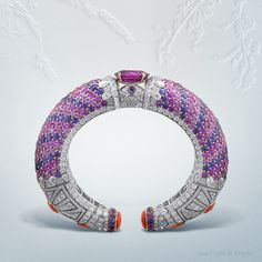 "Van Cleef & Arpels Protection féerique bracelet, ""Peau d'Âne raconté par Van Cleef & Arpels"" collection White and pink gold, diamonds, coral, pink and violet sapphires, one oval-cut pink sapphire of 13.52 carats (origin: Sri Lanka) Rich in contrasts,..."