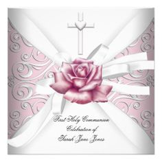 Girl First Holy Communion Damask Pink Rose White 5.25x5.25 Square Paper Invitation Card