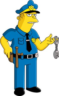 Eddie is one of the two police officers who aid Chief Wiggum on almost every mission. Unlike Lou, he is rather unintelligent, but still not as dumb as Wiggum. Eddie is quite silent, even though he is always there at every case with Lou and Chief Wiggum. The Simpsons Game, Simpsons Art, Cartoon Tv, Cartoon Shows, Chief Wiggum, Ralph Wiggum, Simpsons Drawings, Simpsons Characters, Cartoons