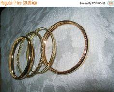 50% off Sale goldtone bangle lot bangle bracelets by vintagebyrudi