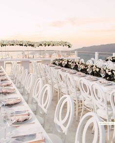 """WedLuxe on Instagram: """"Our dream outdoor reception 😍 A Santorini sunset and our closest friends + family💞 Bianca and Nicolas' destination wedding is the…"""""""