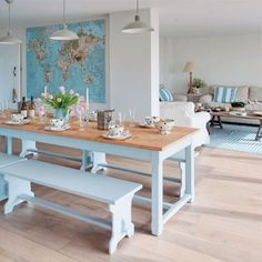 Country style kitchen, blue painted benches - love the open plan feel and light colours Painted Dining Room Table, Dining Table, Blue Kitchen Tables, Kitchen Dining, Kitchen Cabinets, Painted Benches, Country Dining Rooms, Country Kitchen, Blue Rooms