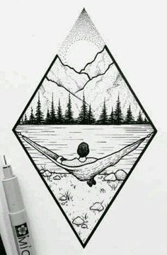 Mountain landscape # Art # Forest # - Norma D. Landscape Drawings, Landscape Art, Landscape Design, Forest Landscape, Cool Drawings, Drawing Sketches, Drawing Ideas, Tattoo Sketches, Easy Nature Drawings