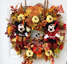 Thanksgiving Wreath Mickey and Minnie by SparkleForYourCastle, $189.00