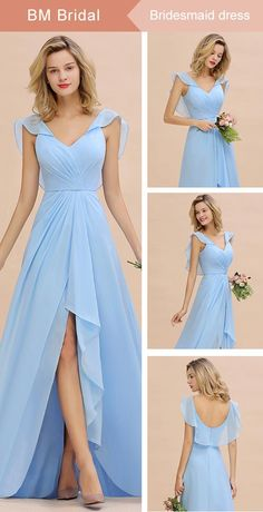 Looking for a gracefull blue long bridesmaid dress? Bmbridal custom made you multiple affordable bridesmaid dress with 50 colors. Bridesmaid Dresses Long Blue, Affordable Bridesmaid Dresses, Blue Bridesmaids, Long Dresses, Dress Patterns, Bridal Gowns, Swatch, Ideias Fashion, Evening Dresses