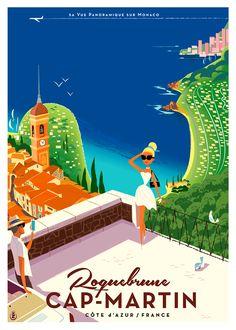 Cote d'Azur Vintage Italian Posters, Vintage Travel Posters, Illustrations Vintage, Illustrations Posters, Art Deco Posters, Cool Posters, France, Vintage Hawaii, Poster Ads
