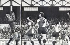 8 March 1975 QPR keeper Phil Parkes looks back as, from a Dave Clements free kick, Mick Lyons scores with a well placed header