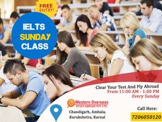 #IELTS #Sunday Special #Classes - Western Overseas  Every Sunday from 11:00 Am to 1:00 PM   At Western Overseas - Chandigarh, Ambala, Kurukshetra, Karnal  For more information, call at 7206050120  No entry charges!