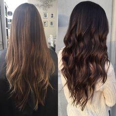 From caramel brown balayage to dark brown balayage #hair #balayage