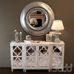Белый комод и зеркало