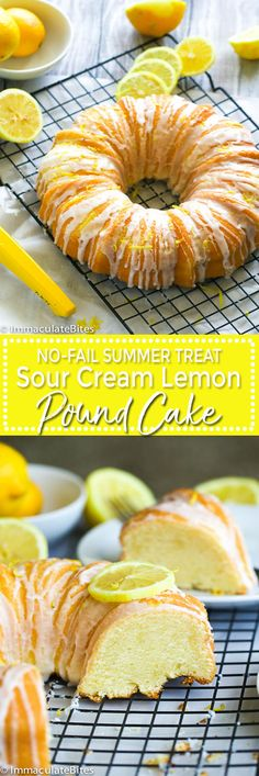 Lemon Sour Cream Pound Cake --Fluffy , moist with citrusy flavor , drizzled with a refreshingly delicious  sweet lemon glaze . A no-fail sweet treat for summer and all year round!
