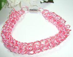 Bracelet Chainmaille Pink Magnetic Clasp Fun Feminine Flirty | PinkCloudsAndAngels - Jewelry on ArtFire
