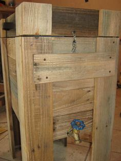Beautiful Pallet Wood Cooler  #cooler #garden #palletboxes #recyclingwoodpallets Cooler made out of recycled pallet wood, and old cooler, one old leather handle and drain for easy cleaning.   ...