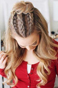 Long hair braids: Braided hairstyles for long hair: Cornrow Braided Half-Up … Lange Haarzöpfe: Geflochtene Frisuren für lange Haare: Cornrow Braided Half-Up Bun - Unique Long Hairstyles Ideas Braided Bun Hairstyles, African Hairstyles, Easy Hairstyles, Hairstyles 2016, Hairstyle Ideas, Hair Ideas, Teenage Hairstyles, Dance Hairstyles, Hair And Beauty