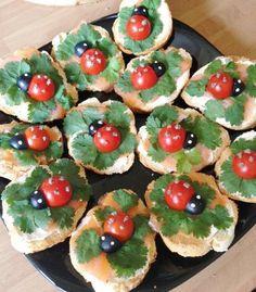 Lady bug themed party food idea.