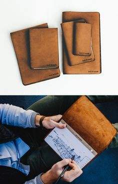 Bull & Stash Notebooks - Bound in long-lasting leather, Bull & Stash notebooks are designed for easy refills when the pages are full. Paper options include monthly, weekly, & daily datebook style as well as blank, lined, grid, & drawing paper.