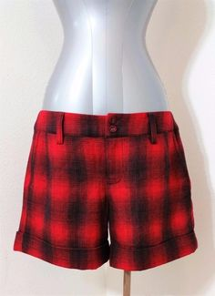 Lucky Brand Size 29 Midrise Cuffed Black Red Plaid Fully Lined Wool Shorts NWT #LuckyBrand #CasualShorts
