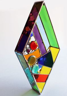 Original 3D free-hanging Stained Glass Art  Dazzling Diamond by LAGlass, $49.00