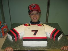 Hockey Jersey cake!  Really Cute! Of course it would be a Lightning or Blues jersey!