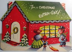50s Extra Gay Cottage Vintage Die Cut Christmas Card 605   eBay