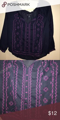 American Eagle shirt Very cute and stylish, worn a few times. 100% Polyester. American Eagle Outfitters Tops Blouses