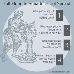 full moon tarot spread ace of stars tarot: Full Moon in Aquarius Tarot Spread Love Tarot Spread, Aries Tarot, Full Moon In Sagittarius, Tarot Card Spreads, Tarot Cards, Star Tarot, Full Moon Ritual, Online Tarot