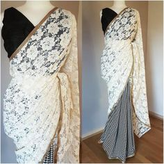 VICTORIA Another one for the collection! Absolutely loving this cotton lace sari. Embroidery and cut work on a pure cotton ivory sari making it a unique beauty! The blouse fabric is a raw silk in ivory also. Saree Jacket Designs, Half Saree Designs, Saree Blouse Neck Designs, Saree Blouse Patterns, Simple Sarees, Trendy Sarees, Indian Bridal Sarees, Indian Designer Outfits, Indian Outfits