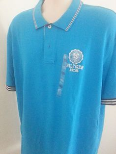 NWT Tommy Hilfiger Est 85 Men's Polo Shirt 2XL Blue Solid Short Sl Cotton Henley #TommyHilfiger #Henley #ebay #TommyHilfiger #Henley