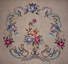 EP 4206 Vintage Floral Bouquet 2pc Chair Seat Set PREWORKED Needlepoint Canvas | eBay