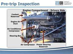 School Bus Engine Pre-Trip Parts School Bus Driving, School Bus Safety, School Buses, Bus System, Vehicle Inspection, Truck Engine, Car Repair Service, Bus Driver, Engineering