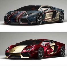 Marvel Cars | Top or Bottom? #Lamborghini #Aventador | Which Side Are You On #CaptainAmerica or #IronMan Photographer: Unknown, Comment If You Know. For More Follow Us Now @lamborghinipic