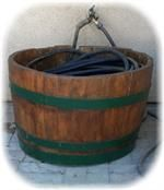 Stained, sealed and varnish with a vented double bottom to keep from water deterioration.