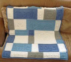 "Crocheted Blanket: ""Thank Heaven for Little Boys"" Wording can be changed to ""Thank Heaven for Little Girls"" 38 x 48 inches"