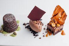 Chocolate trio of chocolate fondant, chocolate ice cream and chocolate marquise from Raymond Blanc