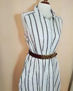White with colored stripes. Dress Link, Pin Up, Vintage Fashion, High Neck Dress, Dresses For Work, Shirt Dress, Vintage Dress, Elegant, Etsy