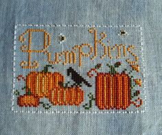 Halloween Cross Stitch - Pumpkins & Crow