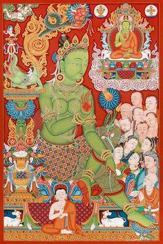 Green Tara Buddhist thangka paubha painting by Mukti Singh Thapa at Mahakala Fine Arts Buddha Kunst, Buddha Art, Unique Paintings, Original Paintings, Tara Goddess, Thangka Painting, Tibetan Art, Detail Art, Art Pages