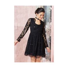 LBD Mid-length Long Sleeve A-line Chic, Myself, and I Dress ($120) ❤ liked on Polyvore featuring dresses, apparel, black, sheer long sleeve dress, lace a line dress, lbd dress, lace dress and long-sleeve lace dress