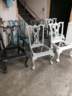 Mismatch chairs in Superior Paint Co chalk professional non toxic furniture paint!