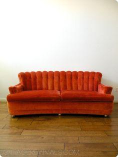 Vintage Tufted Velvet Couch @ Vintage Revivals