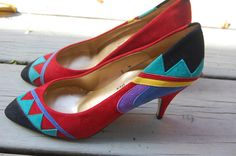 NEW Deadstock Vintage 80s ChaRaye Tribal Shoes Pumps Heels by MaidenhairVintage, $45.00
