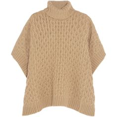 Cable-knit turtleneck poncho Michael Michael Kors, Beige, Women's,... (€205) ❤ liked on Polyvore