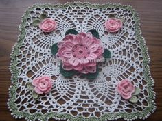 TURKISH LACE-CROCHET WORK BY DEMET: SQUARE, FLORAL DOILY