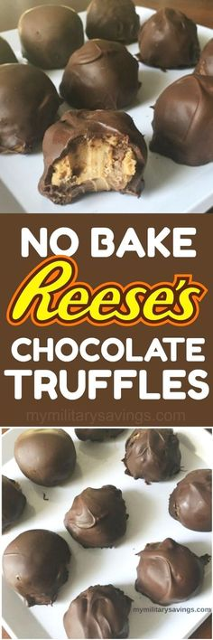 DELICIOUS No Bake Re DELICIOUS No Bake Reese's Peanut Butter Cup Chocolate Truffles recipe! Add this to your dessert recipes board!