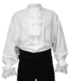 Marcus Regency Shirt with Removable Jabot White - French Shirt - Ideas of French Shirt - Marcus Jabot Shirt in White for days when you want to dress up a bit. Ideal for Regency or Pirate outfits. Historical Costume, Historical Clothing, Renaissance Clothing, Victorian Fashion, Vintage Fashion, Frilly Shirt, Ruffled Shirt, Ruffle Blouse, Poet Shirt