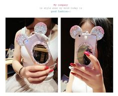 Hot Fashion Korea Cute 3D Mirror Mickey Mouse Rhinestone Diamond Ears Soft TPU Case Cover With Chain For iPhone 7 6 6S Plus 5 5S