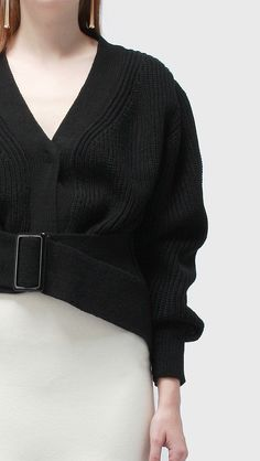belted crop sweater knit