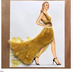 Fashion Illustrator Creates Gorgeous Dress Designs Using Everyday Objects. Design artist Edgar Artis uses adapted patterns items to make lovely dresses. Arte Fashion, 3d Fashion, Ideias Fashion, Dress Fashion, Fashion Ideas, Fashion Design Drawings, Fashion Sketches, Moda 3d, 3d Mode
