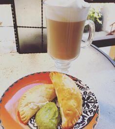 Kicking off my #Thanksgiving w/homemade Choriqueso Empanadas w/Avocado Sauce & @lavazzausa Cappuccino.  #grateful
