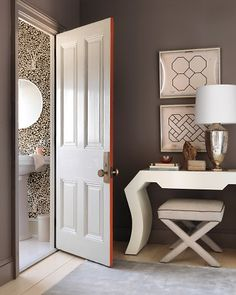 paint the edge of an interior door for a surprising pop of colour